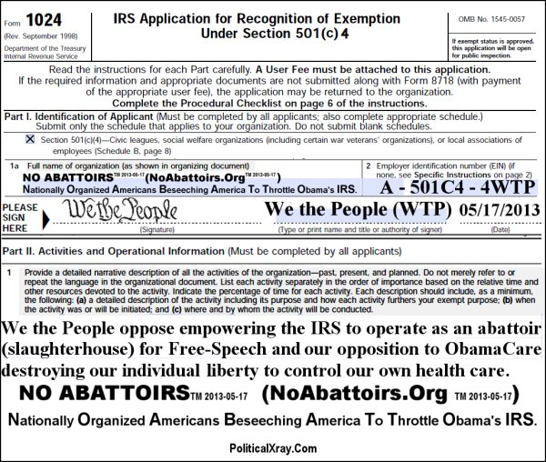 We The People Found 501c4 Organization Titled No Abattoirs Which